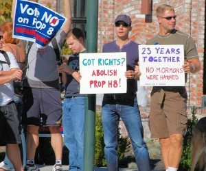 Protesters campaigning against Proposition 8