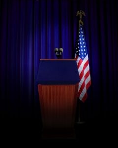 A standard set-up for a US press briefing