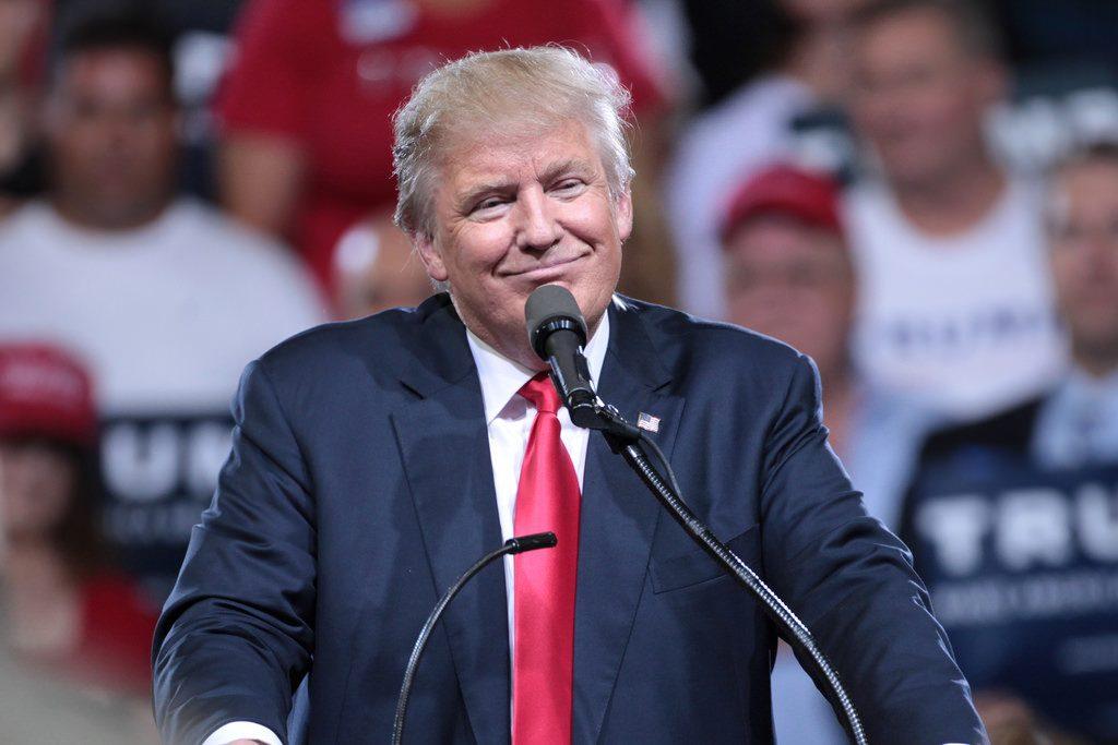 Photograph of Trump giving a speech